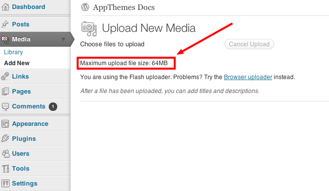 How To Increase Upload Size In Wordpress Appthemes Docs