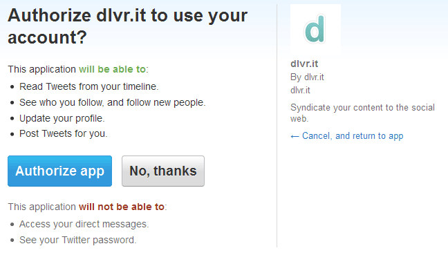 dlvrit Twitter Authorization