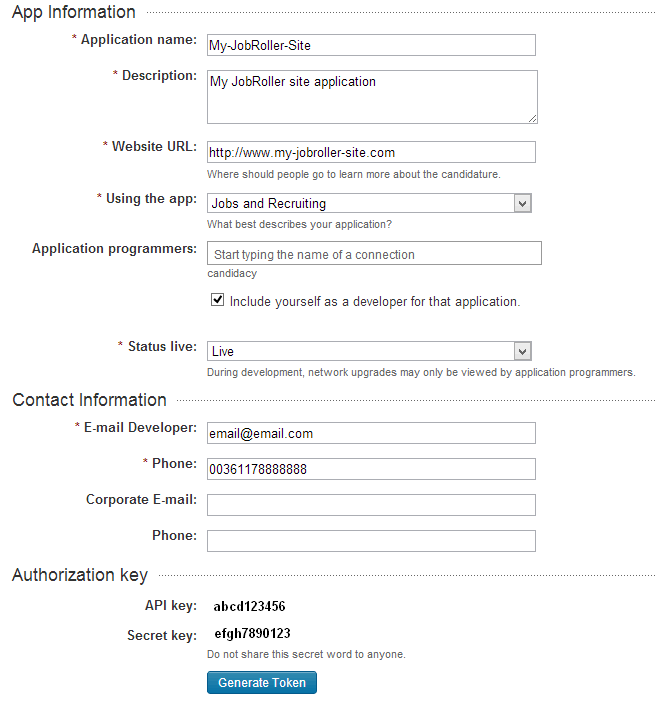 Register LinkedIn Application