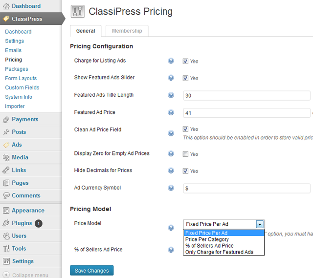 ClassiPress Pricing Settings