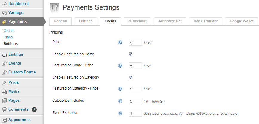Setting up pricing for Events.