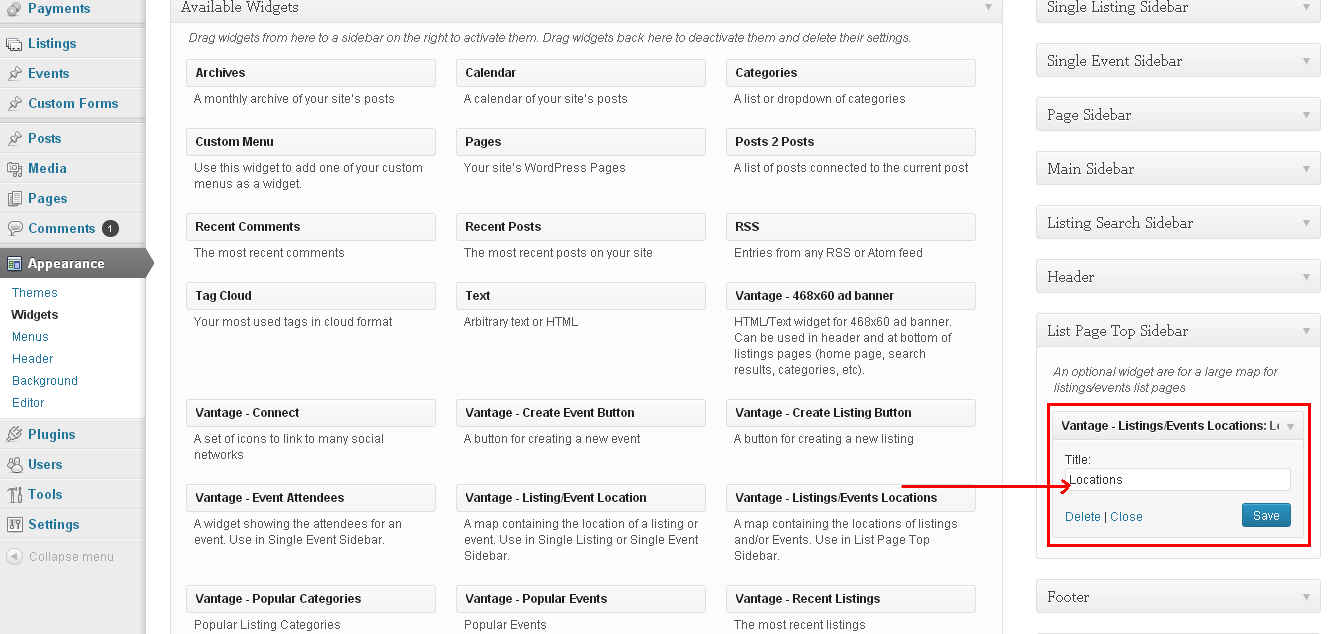 Listings/Events Locations widget