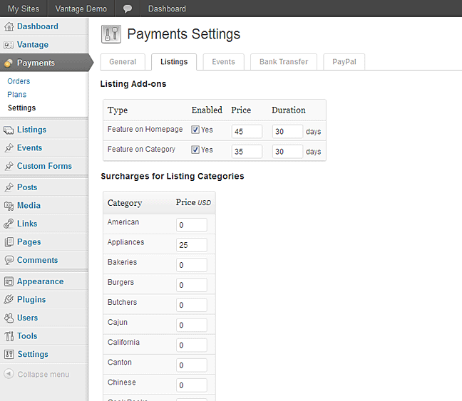 Vantage payments settings for listings