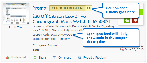 Coupon codes in CJ data feeds