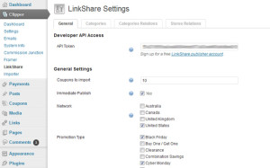 LinkShare - Settings page