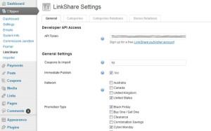 LinkShare - Settings page