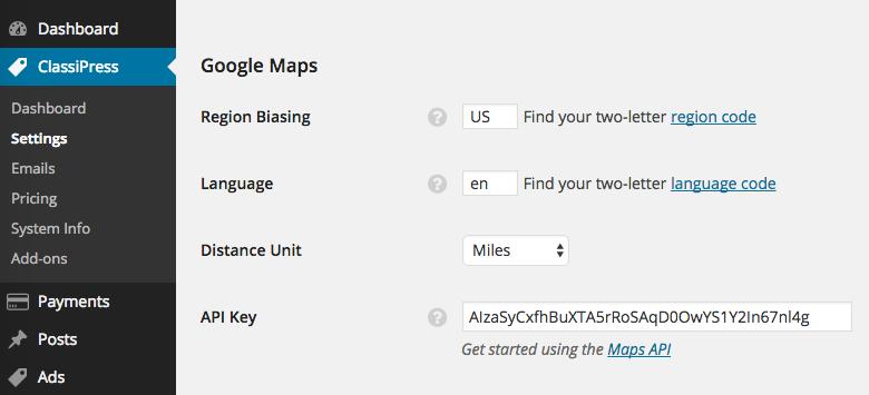 classipress-google-api-key